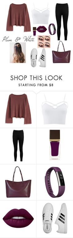 """""""Plum & White"""" by pollyesmeyates ❤ liked on Polyvore featuring Chicwish, Charlotte Russe, Boohoo, Tom Ford, MICHAEL Michael Kors, Fitbit, Lime Crime, adidas and plus size clothing"""