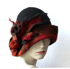 Black Felt Hat Felted hat Cloche hat Retro hat by Feltpoint Flapper Hat, Flapper Style, Felt Hat, Wool Felt, Felted Wool, Belle Epoque, Sombreros Cloche, Gris Violet, 1920s Hats