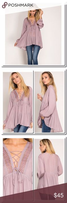 """Boho Tunic with Lace Up Front Long Sleeve Tunic Top wit Lace Up Front and Crochet Lace Details. 70% Cotton 30% Polyester Model is 5'8"""" and wearing a small .   Bust armpit to armpit. S 17 1/2"""" M 18 1/2"""" L 19 1/2"""".           Length S 27 1/2""""-31""""   M & L 28 1/2-32"""" She and Sky Tops Blouses"""