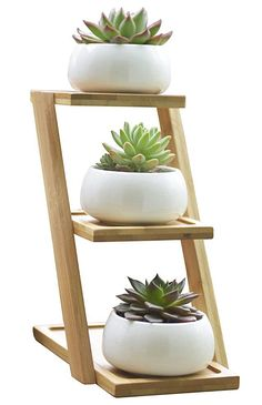 Jusalpha White Ceramic Modern Decorative Small White Round Ceramic Succulent Plant Pot w/ 3 Tier Bamboo Stand (Planter 01-3 pots )