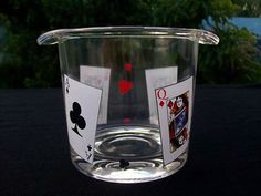 Ice Bucket Card Party Thick Glass New + Box #Unbranded