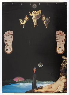 """Predominantly black poster with the word """"greeting"""" in white letters across the top. Featuring central figure of Jesus above smaller figure of Buddha. Tadanori Yokoo, Japanese Graphic Design, White Letters, Buddha, The Incredibles, Artist, Poster, Top, Painting"""