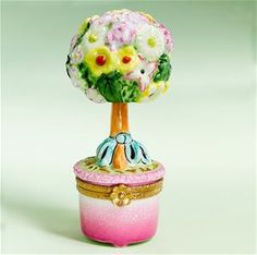 Limoges Spring Flowers Topiary Tree Box.