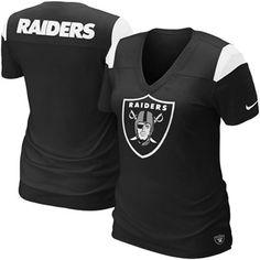Nike Oakland Raiders Ladies Fashion Football Premium T-Shirt - Black #FanaticsWishList @Fanatics ®