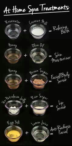 Spa treatments to try out at home...I used the olive oil and honey one tonight and my skin feels amazing!