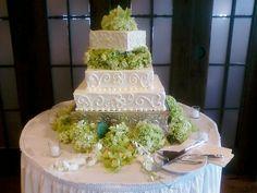 Square Hydrangea Wedding Cake by Delicately Delicious, via Flickr