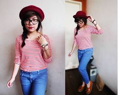 Ukay Ukay Striped Top, Zara Colored Jeans, Primadonna Loafers How To Wear Loafers, Colored Jeans, Mad, Tops, Style, Fashion, Swag, Moda, Fashion Styles