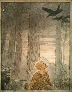 Siegfried's death (1911), lithograph by Arthur Rackham (1867-1939) [published in Siegfried & The Twilight of the Gods, facing page 172], from Act 3, Scene 2, of Götterdämmerung (1874), by Richard Wagner (1813-1883).