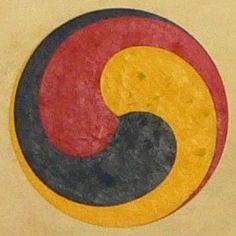 Korean Sam-Taegeuk 삼태극 and Tibetan Gankyil དགའ་འཁྱིལ་ is a symbol, Coil of Joy…