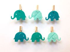 Elephant Mini Clothes Pins 12 Ombre Teal Baby Shower Party Favors Baby Party Games Gift Tag Supplies by SweetThymes on Etsy https://www.etsy.com/listing/401033793/elephant-mini-clothes-pins-12-ombre-teal