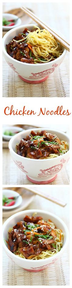 Stir-fried chicken noodles with chicken and egg noodles. This easy chicken noodles recipe is delicious, easy to make, and perfect for weeknight dinner | rasamalaysia.com: