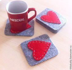 Valentines Set of coasters. Handmade Felt Coasters. Handmade gift. Original…