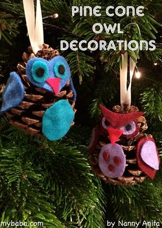 Owl Pine Cone Decorations ||My Baba Parenting Blog Pine Cone Decorations, Christmas Decorations, Holiday Decor, Father Christmas, Christmas Crafts, Christmas Ornaments, Pinecone Owls, Harry Potter Birthday, Pine Cones