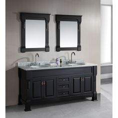 This handsome espresso double-sink vanity cabinet provides a stylish option for any bathroom renovation. With sturdy hardwood construction and a dramatic marble-top surface, this cabinet offers ample storage space with plenty of upscale style.