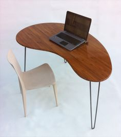 Mid Century Modern Desk - Kidney Bean Shaped - Atomic Era Biomorphic Boomerang Design In Caramelized Bamboo