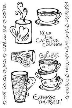 I love coffee doodles! Colouring Pages, Adult Coloring Pages, Coloring Books, Coffee Doodle, Coffee Art, Coffee Drawing, Coffee Poster, Coffee Painting, I Love Coffee