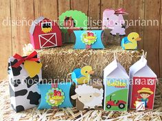 Cajas / mesa de dulces / Granja / Farm boxes Farm Birthday, First Birthday Parties, First Birthdays, Barn Parties, Western Parties, Barnyard Party, Farm Party, Tropical Island, Party Fiesta
