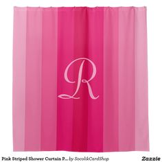Pink Striped Shower Curtain Pale Pink Monogram - This fun shower curtain has a background of different shades of pink stripes. Monogram is pale pink. A simple yet elegant home decor gift for a wedding or housewarming. All Rights Reserved © 2015 Alan & Marcia Socolik.  #zazzle