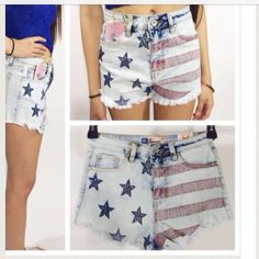 "LISTING Bonage American Flag Denim Shorts Light up  the party and show off your fun side with these american flag denim shorts. 12 inches from waist to inseam. Measurements for waist: (XS-26"", S-27"", M-28"", L-29"")   3 inch inseam Bonage Jeans"