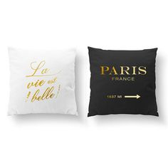 SET of 2 Pillows La VIe Est Belle Pillow Paris France