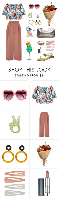 """""""Love cocktail"""" by rainahuang ❤ liked on Polyvore featuring Elizabeth and James, Topshop, Be-Jewelled, Forever 21 and Maybelline"""