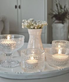 Candels, Candle Lanterns, Votive Candles, Cottage Dining Rooms, Flower Decorations, Christmas Decorations, Home Decor Accessories, Sweet Home, Shabby