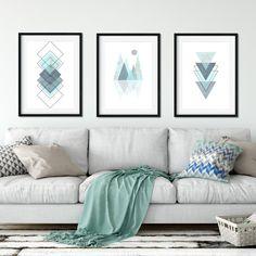 Set of 3 Geometric Printable Wall Art, Downloadable Prints, Scandinavian Prints, Modern, Scandi Prints, Pastel Teal, Minimalist Poster, by SwanDovePrints on Etsy
