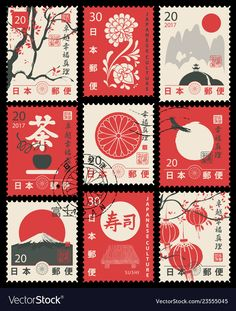 Find Set Vector Postage Stamps On Theme stock images in HD and millions of other royalty-free stock photos, illustrations and vectors in the Shutterstock collection. Thousands of new, high-quality pictures added every day. Japanese Symbol, Japanese Art, Japanese Culture, Japanese Stamp, Postage Stamp Design, Postage Stamps, Printable Stickers, Cute Stickers, Kawaii Stickers