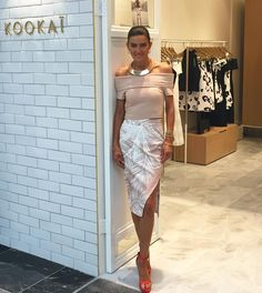 """KOOKAÏ on Instagram: """"@dan_kookai_australia visiting our brand new Eastland Boutique this morning, wearing the Rio Off The Shoulder Top, Lagoon Skirt, Yvette Heels & Sofia Choker, available in Boutiques & Online xx #kookai"""""""