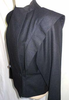 Emmanuelle Khanh Vintage 80s Trophy Jacket Peplum Wing Sleeves Fitted Waist NOS