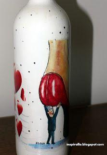 Alicja w Krainie Decoupage...: Butelka  dla nowozenców