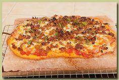 Pizza cooked on a himalayan salt block