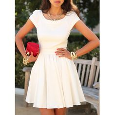Scoop Neck Short Sleeves Dress