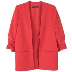 MANGO Ruched Sleeves Blazer (220 BAM) ❤ liked on Polyvore featuring outerwear, jackets, blazers, mango blazer, blazer jacket, red blazer jacket, ruched-sleeve blazer and red blazer