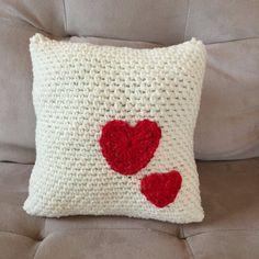 Crochet PATTERN Pillow with Hearts Valentine's by LittleMonkeyShop