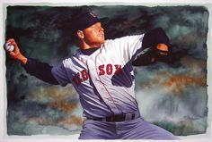 Roger Clemens, Red Sox painting by Glen Green.