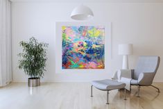 Simply Happy – large colorful abstract painting Palette Knife Painting, Copper Color, Vivid Colors, Gallery Wall, Abstract, Happy, Room, Colorful, Home Decor