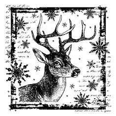 Crafty Individuals CI-332 - 'Snowflake Rudolph' Art Rubber Stamp, 80mm x 80mm - Crafty Individuals from Crafty Individuals UK