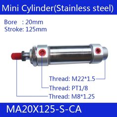 18.17$  Watch now - http://alimtx.shopchina.info/go.php?t=32798249661 - Free shipping Pneumatic Stainless Air Cylinder 20MM Bore 125MM Stroke , MA20X125-S-CA, 20*125 Double Action Mini Round Cylinders  #aliexpress