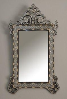 Antique Syrian Mother Of Pearl Wood Mirror Frame Moroccan Home Decor Funky