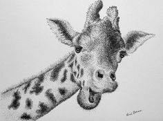 Original Giraffe Pointillism Pen and Ink Portrait by MYDOTSHOP, $60.00