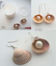 Pearl in a shell earring. I've never wanted to make earrings so much. DIY