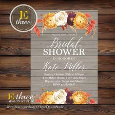 Fall bridal shower invitation autumn bridal shower flowe rustic fall bridal shower invitations fall by ethreedesignstudio filmwisefo