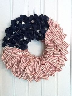 4th of July Wreath - American Flag Front Door Decor