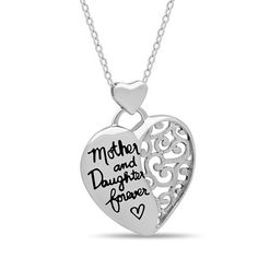 """Elegant Mother Daughter Necklace, 925 Silver, Silver Plated """"Mother & Daughter Forever"""" Necklace - Poppy Co-op Gold Pendant Necklace, Metal Necklaces, Silver Necklaces, Silver Jewellery, Jewlery, Jewelry Necklaces, Mother Daughter Necklace, Necklace For Girlfriend, Mom Daughter"""