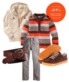 Boy Outfits: Big Boy Inspiration Board #07: Orange, Brown, Gray and Tan Outfit from The Kids' Dept.