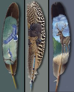 Julie Thompson lives and works in Pacific Northwest, creating beautiful and unique feather paintings for everyone to enjoy. Feather Painting, Feather Art, Native Art, Native American Art, Peacock Wings, Feather Crafts, Weird Pictures, Leaf Art, Cute Drawings