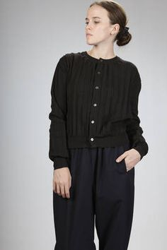 Comme des Garcons - Comme des Garcons - short cardigan in acrylic and wool stocking stitch with pleated pleats   #commedesgarconscommedesgarcons