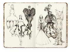 Savage Beauty sketch on Fashionary sketchbook