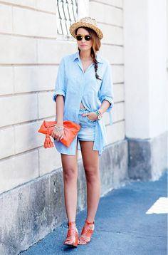 11 Outfits To Top Off With A Summery Hat via @WhoWhatWear
